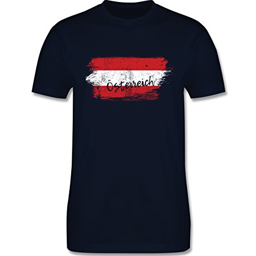 Länder - Österreich Vintage - M - Navy Blau - L190 - Herren T-Shirt Rundhals