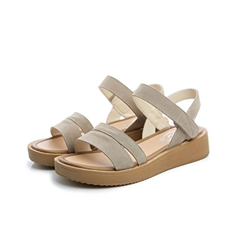 Sommerlich Damen Sandalen Süß Flach Modisch Rutschhemmend Schuhe Klassisch Atmungsaktiv Klettverschluss Nubukleder Weiß Plateau Offen w1qHwPd
