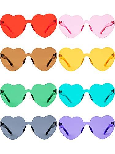 Herz Geformt Liebe Randlos Sonnenbrille Ein Stück Transparent Süßigkeiten Farbe Rahmenlose Brille Getönte Brillen (8 Paare Farbe A)