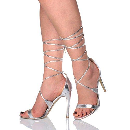 Femmes talon haut à peine là à lanières lacets fête sandales chaussures pointure Argent