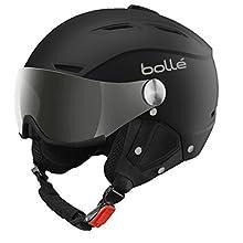 Bollé Backline Visor Soft, Casco da Sci Unisex Adulto, Nero/Argento, 56-58 cm
