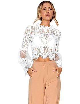 Moda donna pizzo casual top Cave manica lunga camicetta,Yanhoo® Donna Maglietta Manica Lunga Casual Maglia Moda...