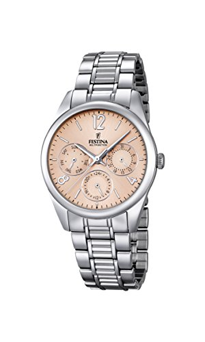 Festina Women's Quartz Watch with Rose Gold Dial Analogue Display and Silver Stainless Steel Bracelet F16869/3
