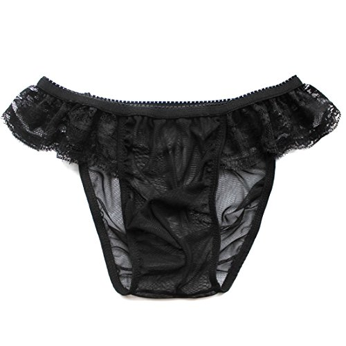 TiaoBug Rose/Noir Slip Sexy Homme Mesh Dentelle Transparente Strings Thong Underwear sous-vêtement...