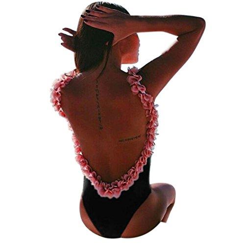 Femmes Sexy Bikini , OverDose 1 PièCe Maillot De Bain Dos Nu Pigeonnant Plage Fleurie Monokini Jumpsuit (S, Noir)