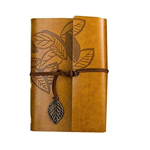 Retro PU Notebook A6 lose Buch Reise Kiwi Papier kreative Tagebuch ( Farbe : Gelb )