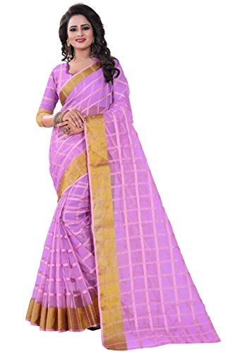 J B Fashion Women's poly cotton saree with blouse piece (off purple)
