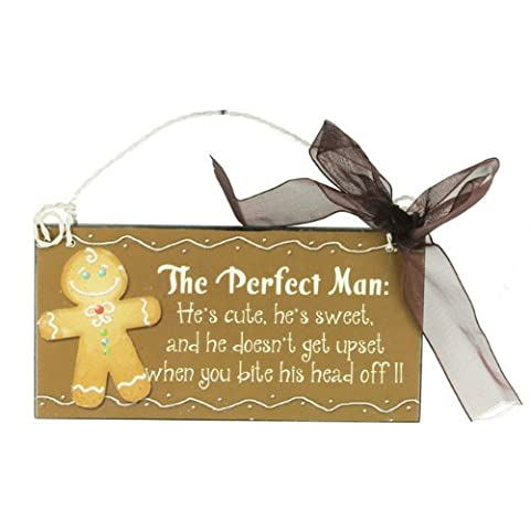 The Perfect Man .. Gingerbread - Small Metal Christmas Sign (12cm x 6cm) by Heaven Sends