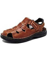 937e5d7b9 GanSouy Hombres Cerrado Dedo del pie Verano de Cuero Sandalias de Velcro  Atlético Zapatos al Aire