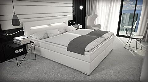 SAM® Design Boxspringbett Sidney mit Samolux®-Bezug, weiß, LED, Bonellfederkern-Matratze, Box mit Holzrahmen, Nosag-Unterfederung, dickem Topper, chromfarbene-Füßen, 180 x 200 cm