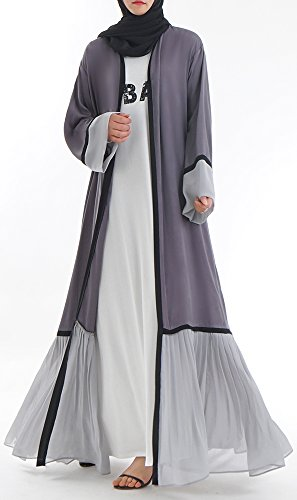 YI HENG MEI Damen Elegante Muslimische Islamische Chiffon Spleißen Langarm Länge Open Abaya...