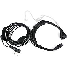 Buwico flexible Micrófono de Garganta auricular auricular con micrófono dedo PTT para Baofeng UV-5R 666S 888S Kenwood pro-talk XLS TK Radio de dos vías Walkie Talkie 2Pin
