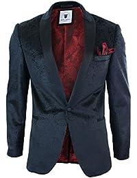 Marc Darcy Mens Velvet Paisley Black Fit Blazer Tuxedo Dinner Jacket Smart Casual