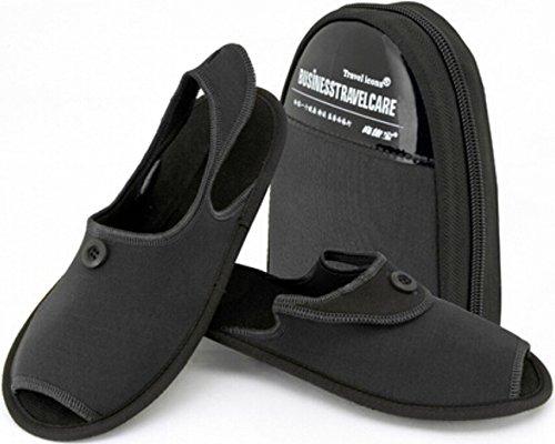 ZeleSouris HM-01- Zapatillas de andar por casa para hombre y mujer, con bolsa de almacenamiento, calzado plegable, ideal para viaje, negro, L: 42-44