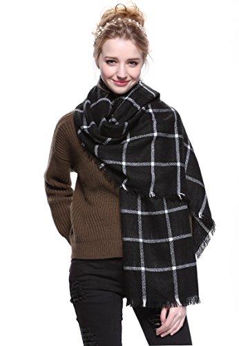 Tuopuda® Damen Oversized Herbst Winter Schal klassische Kariert Schal lange weich Wraps Schal (Schwarz und weiß)