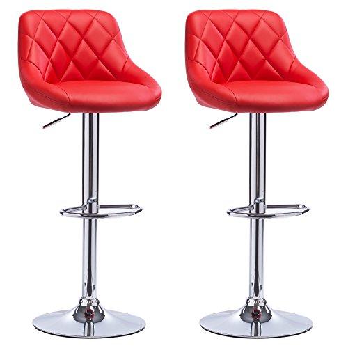 Woltu bh23rt-2 sgabelli da bar sedia cucina alta con schienale poggiapiedi similpelle cromato regolabile girevole moderni classici rosso coppia set 2