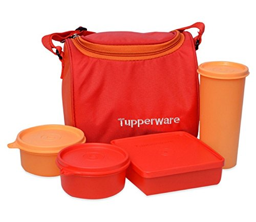 Tupperware Best Lunch Set with Bag, 4-Pieces, Orange  available at amazon for Rs.895