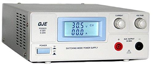 Komerci PS3020 Regelbares DC Labornetzgerät Labornetzteil als Schaltnetzteil 0-30V 0-20A Grau Netzteil Netzgerät 24 Volt 20 Amp