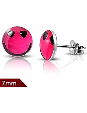 Smiley Smile Pink Logo Cabochon Ohrstecker aus Edelstahl Neu
