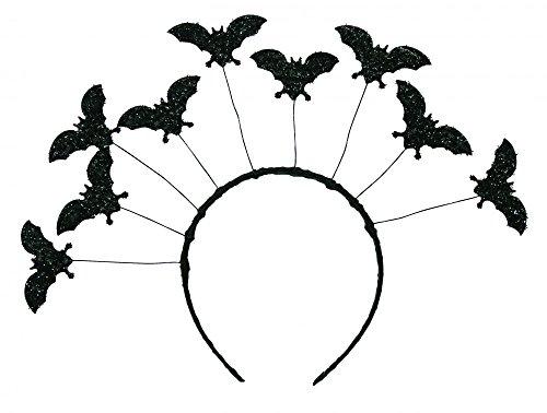 shoperama Halloween Haarreif Schwarz mit fliegenden Fledermäusen Vampir Damen Kostüm-Zubehör ()