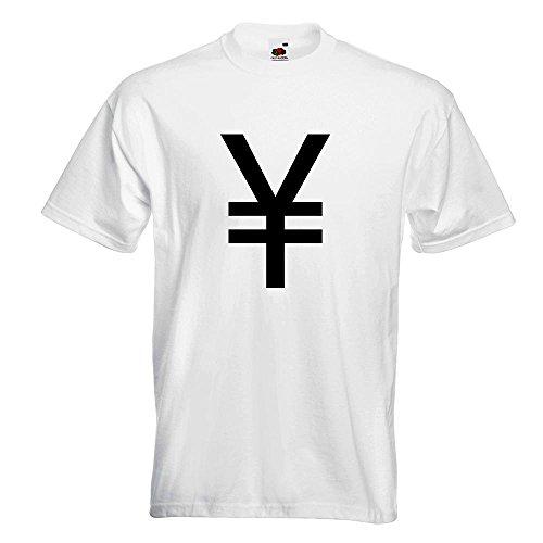 KIWISTAR - Japanischer Yen Symbol T-Shirt in 15 verschiedenen Farben - Herren Funshirt bedruckt Design Sprüche Spruch Motive Oberteil Baumwolle Print Größe S M L XL XXL Weiß