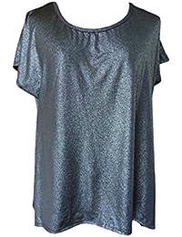 c9cb70ba19381f Unique Boutique - Asymmetrisches Damenshirt silber schwarz mit  Glimmereffekt Gr. 32 34 36…