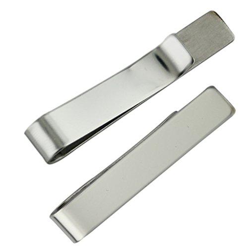 Sharplace 2stk Herren Silber Krawattennadel Krawattenklammer für Schmale Krawatten Edelstahl Tie Clip