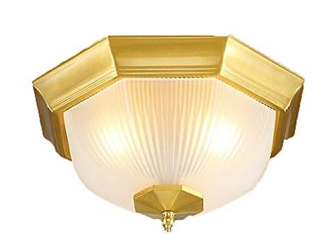 ayaya Leuchten cuivre Couvertures Plafonnier Couverture Leuchten Rétro rond Bronze Laiton Lampes d'or Vintage lumière éclairage avec verre pour chambre à coucher salon Doré 230V Campagne 32*16CM