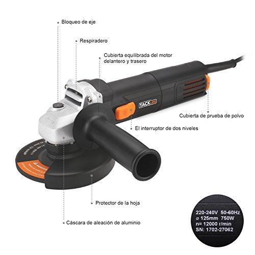 Amoladora angular TACKLIFE AGK31AC radial profesional 750W 125mm 12000RPM para Cortar / Pulir / Herramienta eléctrica con 3 discos y 2 cepillos de carbono y 1 Mango móvil