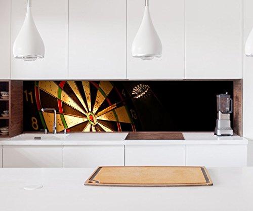 Aufkleber Küchenrückwand Sport Dart Pfeil Dartscheibe Folie selbstklebend Dekofolie Fliesen Möbelfolie Spritzschutz 22A1050, Höhe x Länge:80cm x 400cm