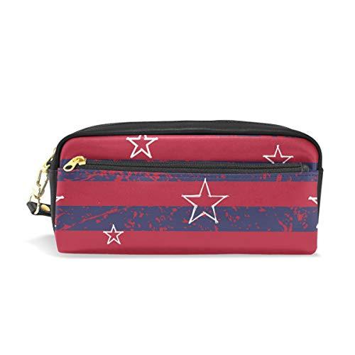 Federmäppchen für Studenten, Rot/Marineblau, gestreift, weiße Sterne, USA-Flagge, PU-Leder, für Stifte, Geldbörse, wasserdicht, große Kapazität, Mini-Make-up-Tasche