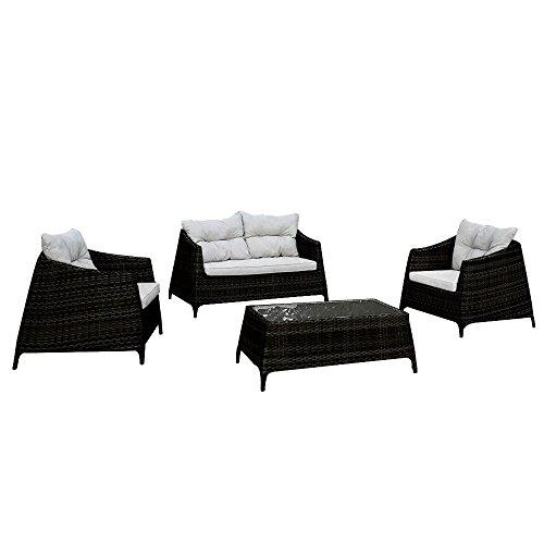 Set salottino in polyrattan divano poltrone tavolino design giardino M0906-22