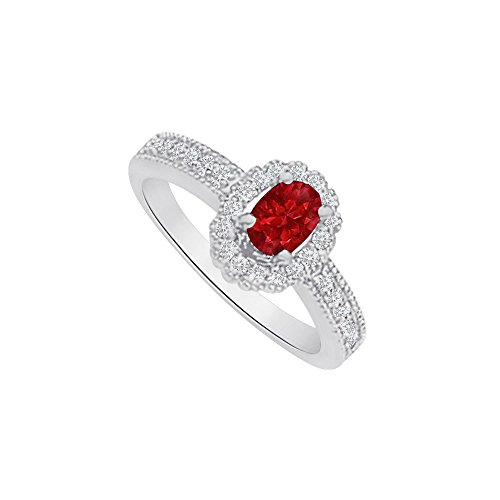 Oval Ruby and CZ Halo Ring in 925 Sterling Silver