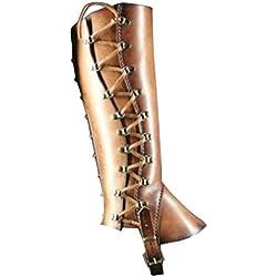 GladiolusA Medieval Cubierta De Zapatos Renacimiento Cubre Botas Victoria Vikingos Pirata Ajustable Hebilla Cubierta De Zapatos Marrón/Sin zapatos talla única