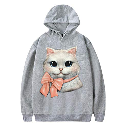 GOKOMO katzendruck Pullover Langarm Kurz Hoodie Sweatshirt Pullover Tops Langarmshirt Teenager Mädchen Bauchfrei Kapuzenpullover Gedruckt(Grau-d,XXXX-Large)