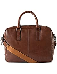 Gauge 15.5 Inch Leather Laptop Bag Messenger Bag Office Briefcase College Bag For Men (Tan)