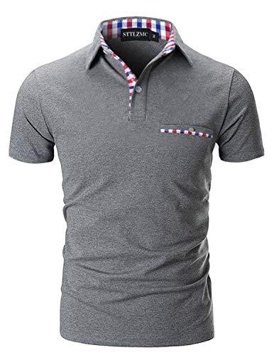 STTLZMC Poloshirt Herren Kurzarm Basic T-Shirt Freizeit Plaid spleißen Polohemd,Grau 1,M