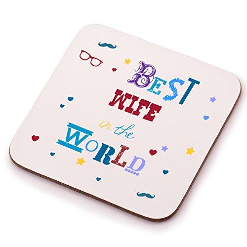 """Posavasos de """"Best Wife"""" de madera ideal para amigo invisible, cumpleaños o Navidad, regalo de él o ella"""