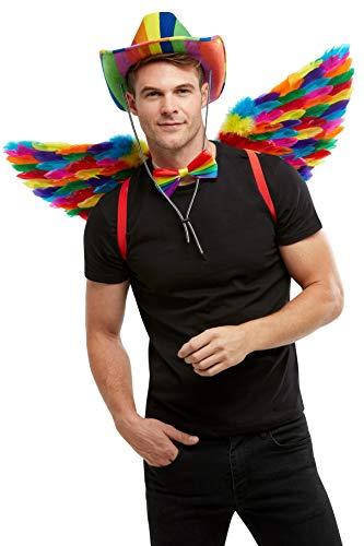 Smiffys 51000 - Alas de plumas de arcoíris, unisex, para adultos, multicolor