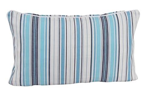 Homescapes dekorative Kissenhülle New England, 30 x 50 cm, Kissenbezug mit Reißverschluss aus 100% reiner (Blaue Gestreifte Kissen)