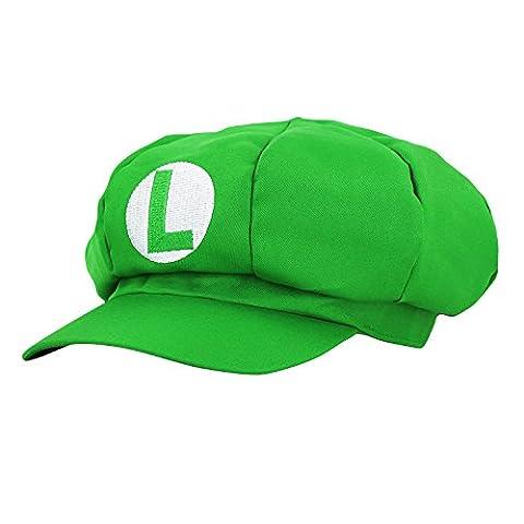 Super Mario Mütze GRÜN LUIGI für Erwachsene und Kinder Karneval Fasching Verkleidung Kostüm Mützen Hut Cap Herren Damen