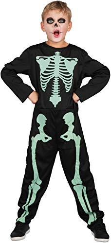 U LOOK UGLY TODAY Kinder Kostüm Halloween Skelett Jumpsuit Ganzkörperanzug Karneval Verkleidungsparty Cosplay für Jungen - L