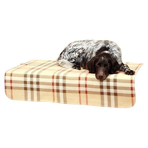 """Haustierdecke / Hundedecke / Tierdecke, XL 100×150, vernähter Rand, schadstoffgeprüft nach OekoTex100, waschbar und trocknergeeignet """"Karo beige"""" - 2"""