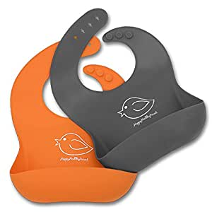 Waterproof Silicone Bib Easily Wipes Clean! Comfortable Soft Baby Bibs Keep Stains Off! Spend Less Time Cleaning after Meals with Babies or Toddlers! Set of 2 Colours (Orange / Gray)
