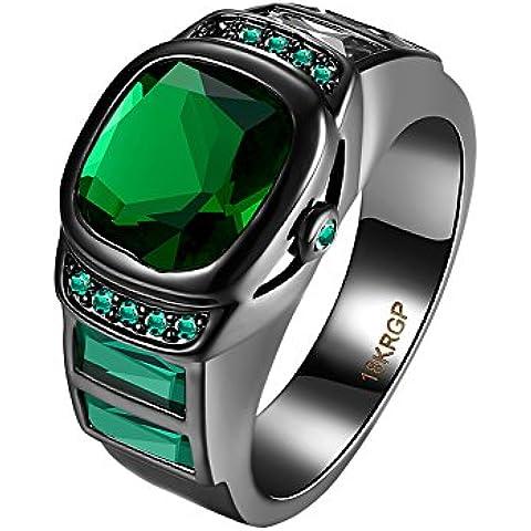 OAKKY Negro Gun Oro Chapado Emerald Cuadrado Diamante Compromiso Anillos de Boda por Mujer Hombres
