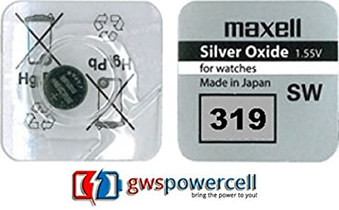 MAXELL ® powerCell gWS-pile bouton uHRENZELLEN montres gamme/301/303/314/315/317/319/321/325/335/337/344/346/348/357/361/362/363/364/365/366/371/370/372/373/376/377/379/380/381/384 et 386/389/390/391/392/394/395/395/399/396 - 319 - (Serie 319)