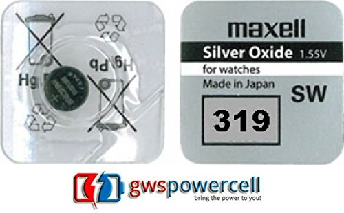 GWS-POWERCELL MAXELL celle a bottone orologi pile Serie/301/303/314/315/317/319/321/329/335/337/344/346/348/357/361/362/363/364/365/366/370/371/372/373/376/377/379/380/381/384/386/389/390/391/392/394/395/396/397/399- 1x (Serie 319)
