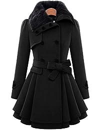 Jitong Mujer Trenca Abrigo con Cuello de Piel Sintética Chaqueta Larga Jacket Coat Outwear