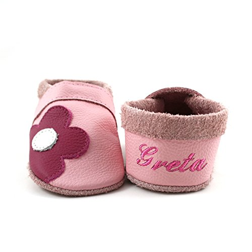 little foot company® 3242 Krabbelschuhe Babyschuhe Lauflernschuhe mit Namensstickerei Blume weiches Leder rosa 18/19 ca. 9-16 Monate (Blumen Weiche Leder-schuhe)
