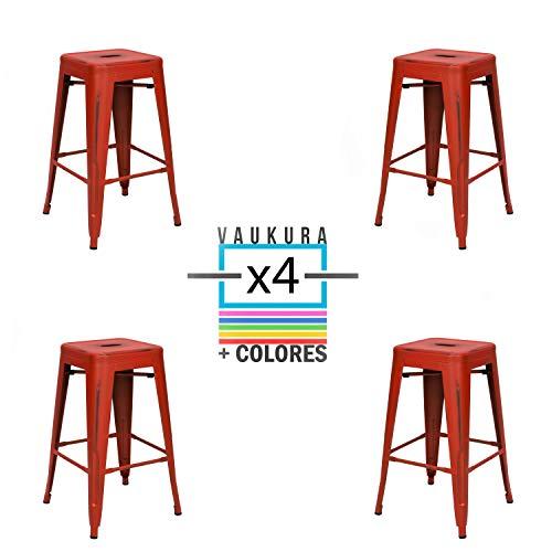 Vaukura Taburete Medio Oliix Vintage (Pack de 4) - Taburete Industrial Medio Tolix (Rojo)